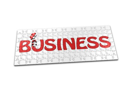 seperated: A Puzzle projecting the word Business with a seperated piece