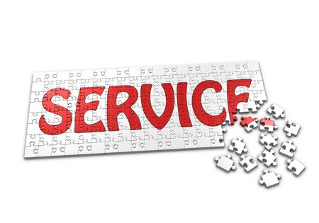 seperated: A Puzzle projecting the word Service with seperated pieces Stock Photo