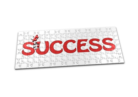 A Puzzle projecting the word success with a seperated piece