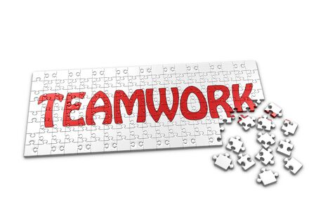 A Puzzle projecting the word Teamwork with seperated pieces Standard-Bild
