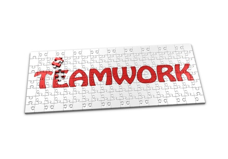 A Puzzle projecting the word Teamwork with a seperated piece
