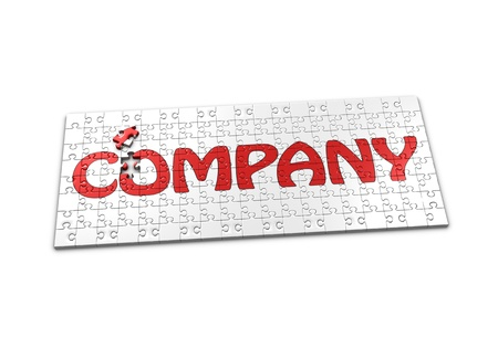 seperated: A Puzzle projecting the word Company with a seperated piece