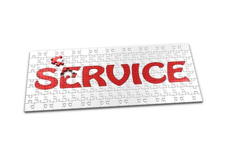 A Puzzle projecting the word Service with a seperated piece Standard-Bild