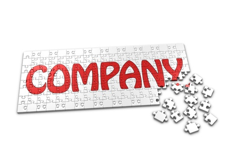 A Puzzle projecting the word Company with seperated pieces Standard-Bild