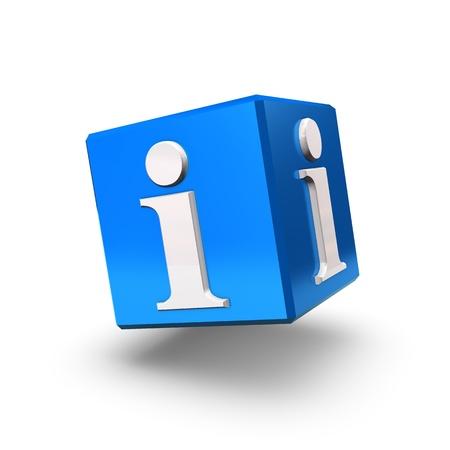 Ein blauer Infokasten schwimmt auf einem weißen Hintergrund.