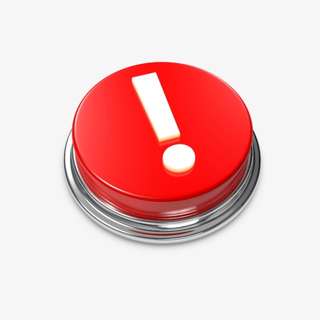 A red Alert Button with an exclamation Mark. Standard-Bild