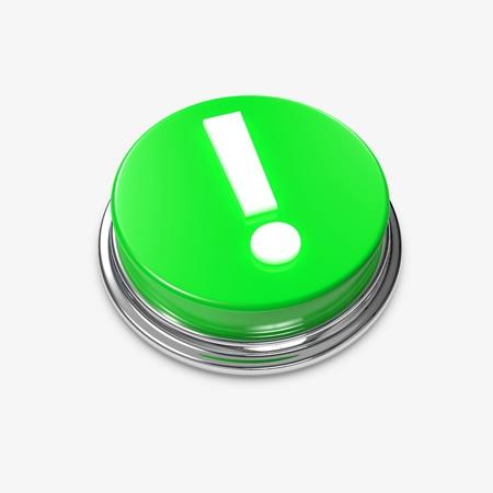 exclamation mark: Un botón verde de alerta con un signo de exclamación. Foto de archivo