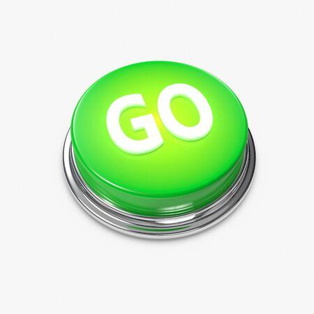 bijschrift: Een gloeiende groene knop met het opschrift gaan op. Stockfoto