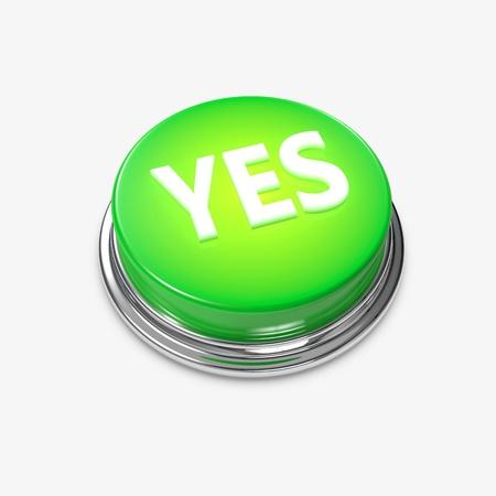 bijschrift: Een gloeiende groene knop met het onderschrift ja op.