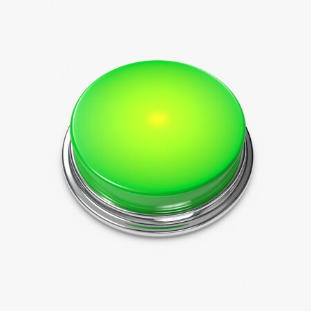 3d button: A glowing green Alert Button with no caption. Stock Photo