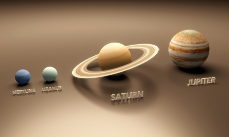 A rendered size-comparence sheet between the Planets Neptune, Uranus, Saturn and Jupiter with in-scene captions. photo