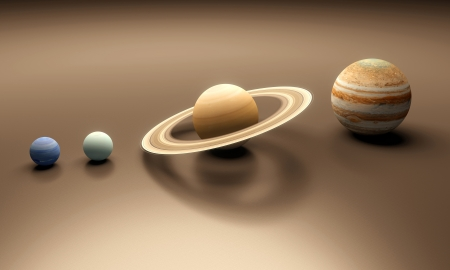 A rendered size-comparence sheet between the Planets Neptune, Uranus, Saturn and Jupiter. photo