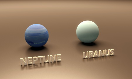 uranus: A rendered size-comparison sheet between the Planets Neptune and Uranus with captions.