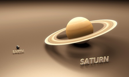 saturn: A rendered size-comparison sheet between the Planets Earth and Saturn with captions.
