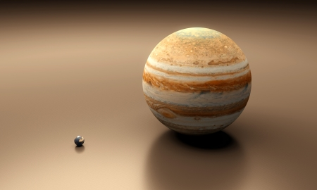 A rendered size-comparison sheet between the Planets Earth and Jupiter. Standard-Bild
