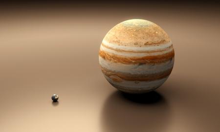 Eine gerenderte Größe-Vergleich Blatt zwischen den Planeten Erde und Jupiter.