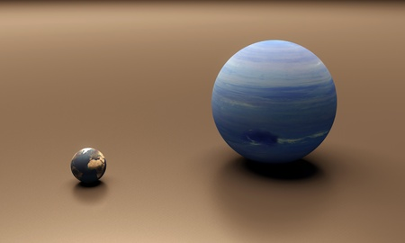 A rendered size-comparison sheet between the Planets Earth and Neptune. photo