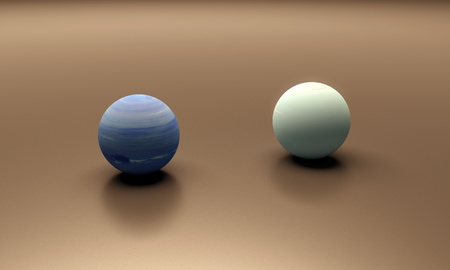 A rendered size-comparison sheet between the Planets Neptune and Uranus. photo