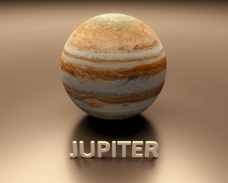 jupiter: A rendered presentation of the gas-giant planet Jupiter with captions