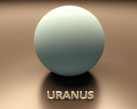 uranus: A rendered presentation of the gas-giant planet Uranus with caption