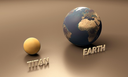 titan: A rendered size-comparison sheet between the Planet Earth and the Saturn Moon Titan with captions.