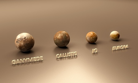 jupiter: A rendered size comparison of the Jupiter Moons Ganymede, Callisto, Io and Europa with captions. Stock Photo