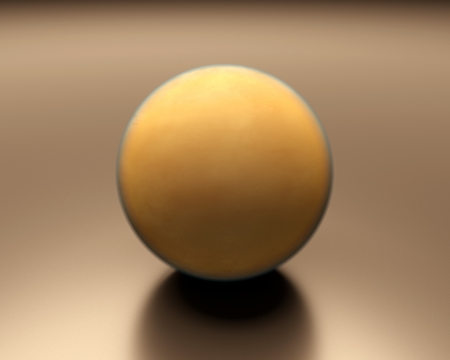 titan: A rendered presentation of the Saturn Moon Titan displaying its very dense and yellowish atmosphere.