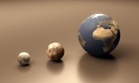 Eine gerenderte Größenvergleich der Jupiter Mond Ganymed der Mond und Planeten Erde.