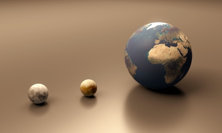A rendered size comparison of the Jupiter Moon Europa the Moon and Planet Earth.