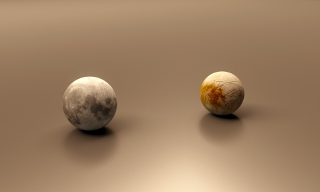 jupiter: A rendered size comparison of the Jupiter Moon Europa and the Earth Moon. Stock Photo