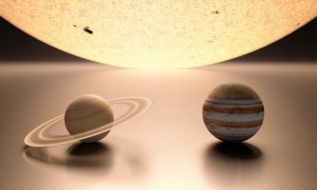 jupiter: A rendered comparison of the Sun and the Planets Jupiter and Saturn.