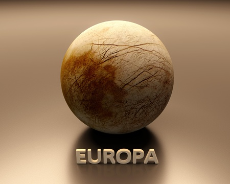 europa: A rendered Image of the Jupiter Moon Europa with caption. Stock Photo