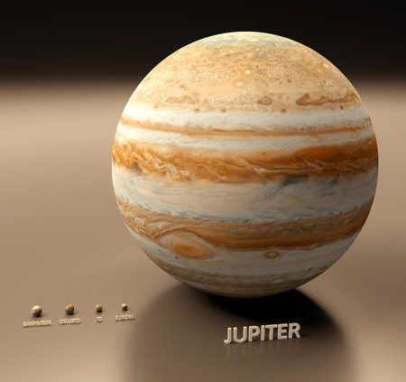 jupiter: A rendered sice comparison of the planet Jupiter and its four largest moons Ganymede, Callisto, Io and Europa.