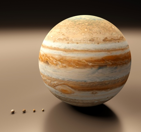 jupiter: A rendered size comparison of the planet Jupiter and its four largest moons Ganymede, Callisto, Io and Europa.