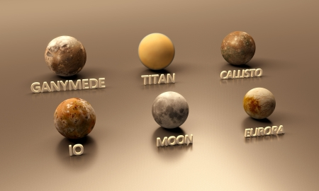 titan: A rendered comparison between the Jupitermoons, the Earth Moon and the Saturn Moon Titan. In order of their size (large to small): Ganymede, Titan, Callisto, Io, Earth-Moon, Europa with english captions.