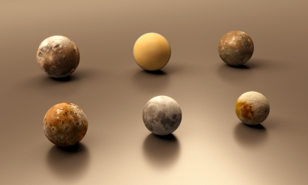 titan: A rendered comparison between the Jupitermoons, the Earth Moon and the Saturn Moon Titan. In order of their size (large to small): Ganymede, Titan, Callisto, Io, Earth-Moon, Europa. Stock Photo