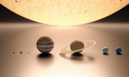 jupiter: A rendered comparison of the Sun and the Planets Mercury, Venus, Earth, Mars, Jupiter, Saturn, Uranus and Neptune.