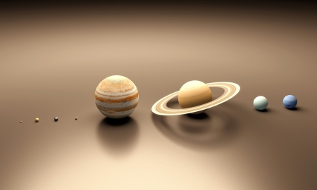 A rendered comparison Image of the Planets of our Solarsystem. photo