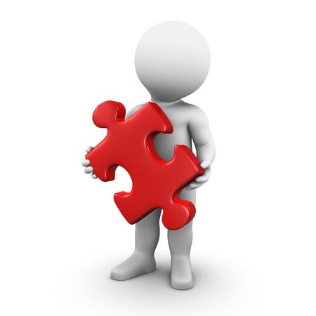 Bobby ist mit einem großen roten Puzzleteil in seinen Händen. Lizenzfreie Bilder