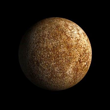A rendering of the Planet Mercury on a clean black background.