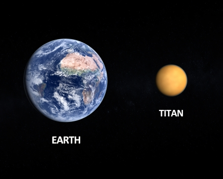 titan: A comparison between the planet Earth and the Saturn Moon Titan on a starry background with english captions. Stock Photo