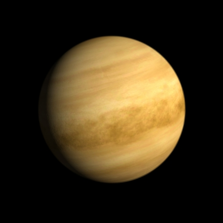 A rendering of the Planet Venus on a clean black background.