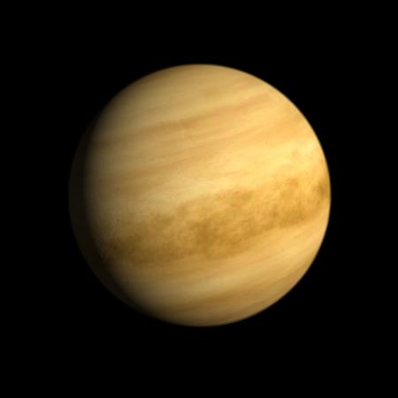 Eine Wiedergabe der Planet Venus auf einem sauberen schwarzen Hintergrund.