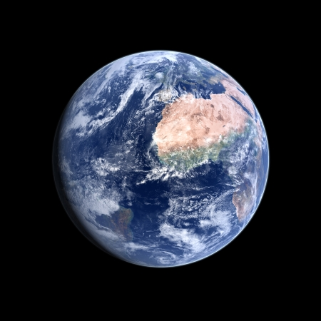 A photorealistic rendering of our Homeplanet Earth on a clean black background. photo