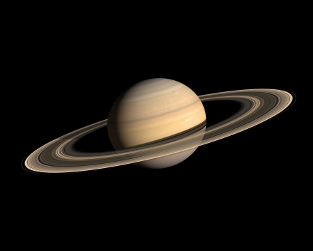 A rendering of the Gas Planet Saturn with its majestic ringsystem on a clean black background.