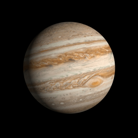 A rendering of the Gas Planet Jupiter on a clean black background. photo