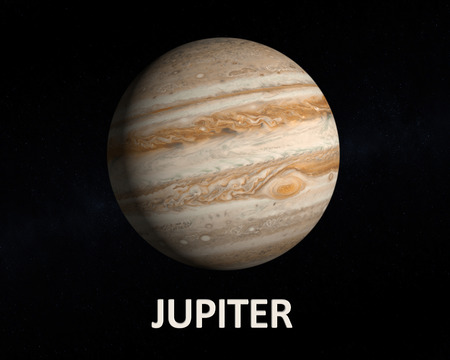 jupiter: A rendering of the Gas Planet Jupiter on a slightly starry background with english caption.