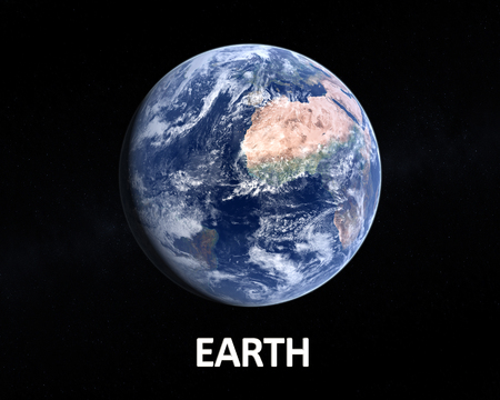 slightly: A photorealistic rendering of our Homeplanet Earth on a slightly starry background with english caption.