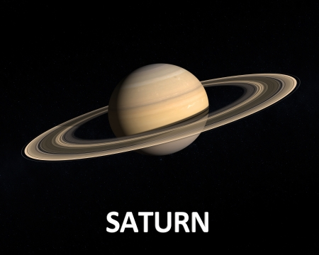 saturn: A rendering of the Gas Planet Saturn with its majestic ringsystem on a slightly starry background with english caption.