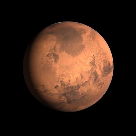 Ein Rendering des Planeten Mars auf einer sauberen schwarzen Hintergrund.